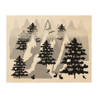 Woodland Rustic Pine Tree Mountain Animal Nursery Wood Wall Decor