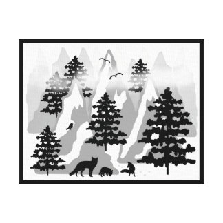 Woodland Rustic Tree Mountain Animal Fox Nursery Canvas Print