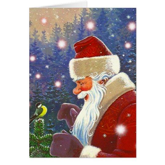 Woodland Santa & Chickadee Christmas Holiday Card