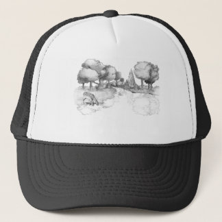 Woodland scene with deer trucker hat