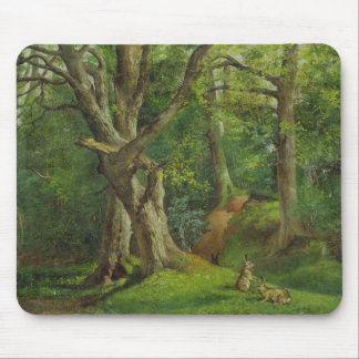 Woodland Scene with Rabbits, 1862 (oil on canvas) Mouse Pad