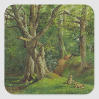Woodland Scene with Rabbits, 1862 (oil on canvas) Square Sticker