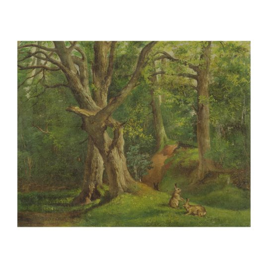 Woodland Scene with Rabbits, 1862 (oil on canvas) Wood Wall Decor