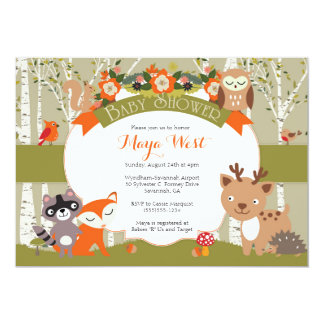 "Woodland Shower - Forest Animals Themed Baby Showe 5"" X 7"" Invitation Card"
