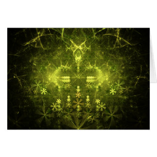 Woodland Spirit. Green & Black Fractal. Greeting Card