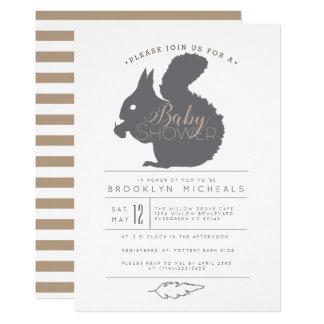 Woodland Squirrel Baby Shower Invite