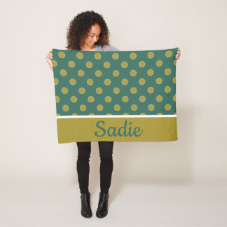 Woodland Teal and Tan Polka Dot Personalized Fleece Blanket