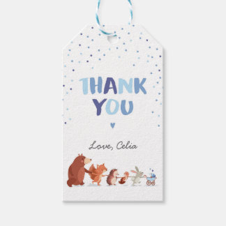 Woodland thank you favor gift tag Blue boy Forest