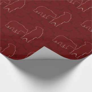 Woodland Theme with Bears and Deer in Maroon Wrapping Paper