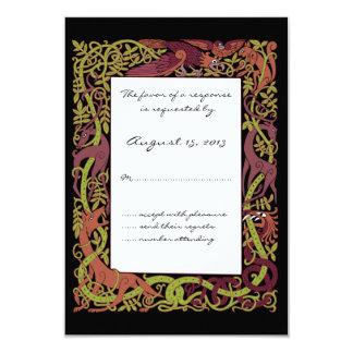 "Woodland Tones Celtic Animals Design Wedding RSVP 3.5"" X 5"" Invitation Card"