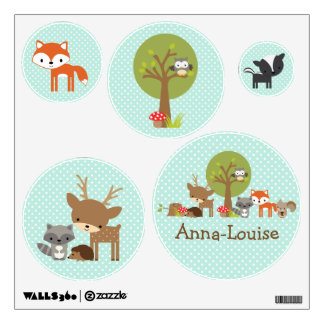 Woodland wall stickers blue personalized
