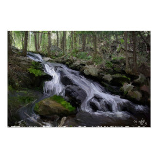 Woodland Waterfall Poster