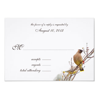 Woodland Waxwing Wedding RSVP Card