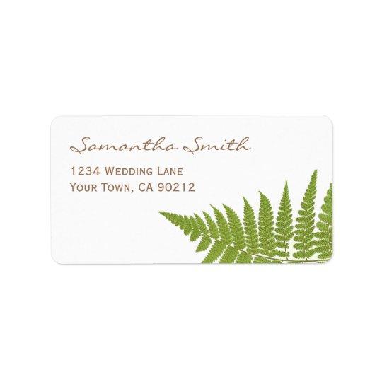 Woodland Wedding Fern Label
