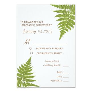 "Woodland Wedding Fern with Meal Options 3.5"" X 5"" Invitation Card"