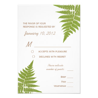 Woodland Wedding Fern with Meal Options Invite