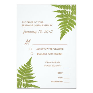 Woodland Wedding Fern with Meal Options 3.5x5 Paper Invitation Card