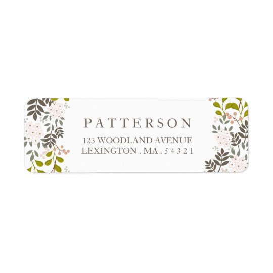 Woodland Wedding Floral Return Address Return Address Label