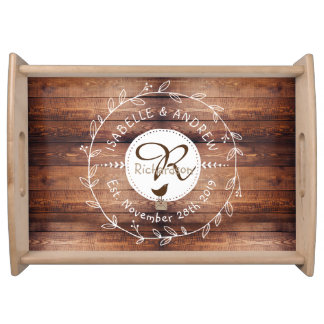 Woodland Wedding Monogram Wood Leaf Wreath Bird Serving Tray