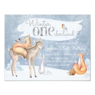 "Woodland Winter ONEderland First Birthday Party 4.25"" X 5.5"" Invitation Card"