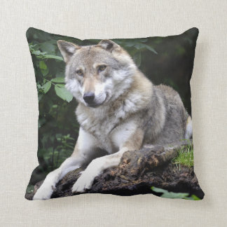 Woodland Wolf Throw Pillow