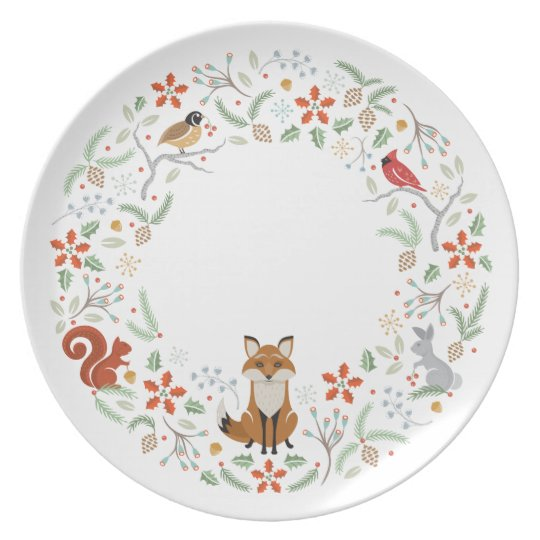 Woodland Wreath Plate White