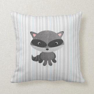 Woodlands Animals Raccoon Throw Pillow