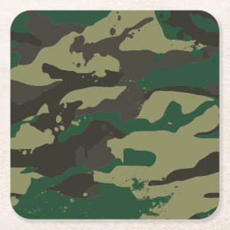 Woodlands camouflage square paper coaster