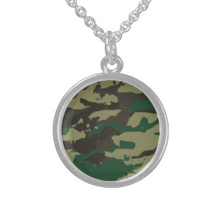 Woodlands camouflage sterling silver necklace