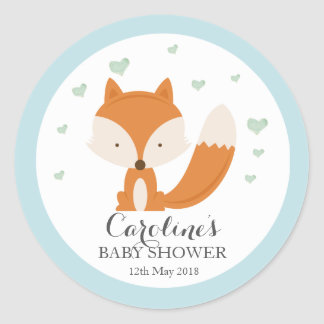 Woodlands Fox Blue Love Blue Baby Shower Sticker Round Sticker