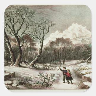 Woodlands in Winter Square Sticker