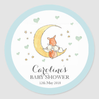 Woodlands Moon Love Blue Baby Shower Sticker Classic Round Sticker