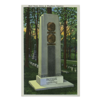 Woodlawn Cemetery, Mark Twain Gravestone Scene Poster
