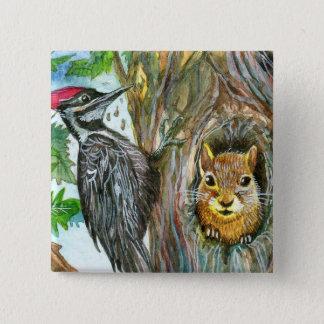 Woodpecker And Squirrel 2 Inch Square Button