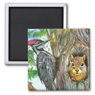 Woodpecker And Squirrel Square Magnet