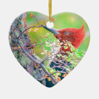 Woodpecker at Forest Pecking Ceramic Ornament