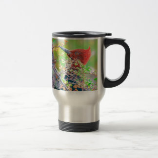 Woodpecker at Forest Pecking Travel Mug
