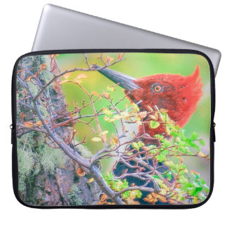 Woodpecker at Forest Pecking Tree Laptop Sleeve