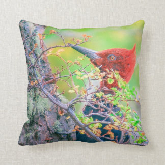 Woodpecker at Forest Pecking Tree Throw Pillow