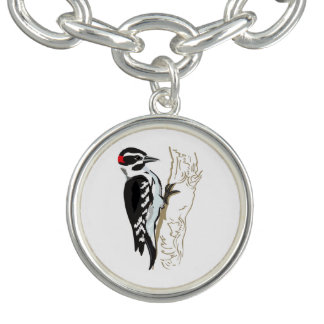 Woodpecker illustration charm bracelets