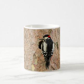 woodpecker on his tree coffee mug
