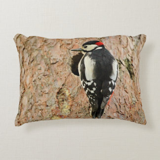 woodpecker on his tree decorative pillow