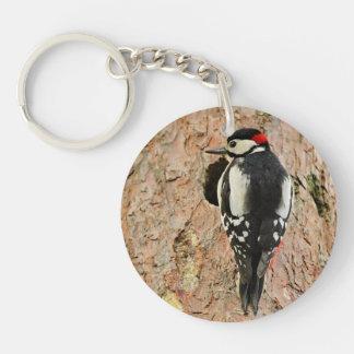woodpecker on his tree keychain
