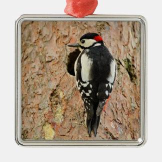 woodpecker on his tree metal ornament