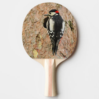 woodpecker on his tree ping pong paddle