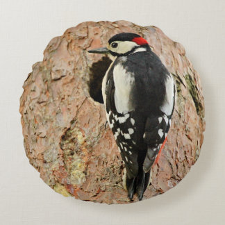 woodpecker on his tree round pillow