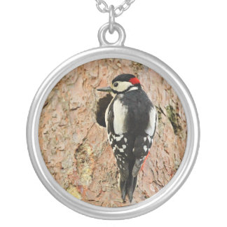 woodpecker on his tree silver plated necklace