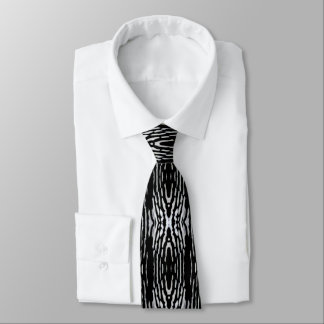 Woodpecker Pattern Stripes on Black & White Tie