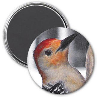 Woodpecker Portrait 3 Inch Round Magnet