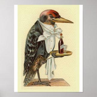 Woodpecker Waiter Vintage Bird Illustration Poster